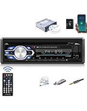 Single Din Car Stereo Bluetooth 1Din Car CD DVD Player with Hands Free Calling Support CD/VCD/MP3/FLAC/USB/SD/AUX/FM Radio for Truck+ Wireless Remote Control