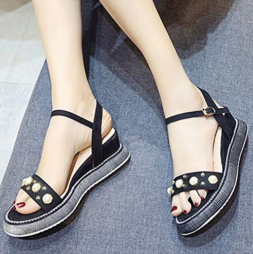 Orangeskycn Women Sandals Summer Wild Platform Bottom Retro Roman Strappy Sandals Pearl Wedge Open Toe Casual Shoes Black by Orangeskycn Women Sandals (Image #1)