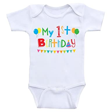 2b5768ee4e7 Amazon.com  Heart Co Designs First Birthday Baby Clothes My 1st Birthday  Onesies for Babies  Clothing