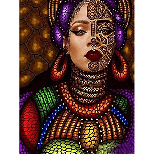(certainPL DIY 5D Diamond Painting by Number Kit, Full Drill Egyptian Girl Rhinestone Embroidery Pictures Canvas Cross Stitch Supply Arts Craft Wall Decor)