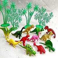 ValianhAgen - Juego de 16 adornos de dinosaurio para tartas de la selva, decoración de fiesta de cumpleaños para niños multicolor