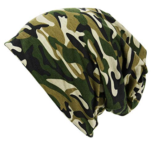 (Itzu Men's Army Camo Jersey Beanie Snood 2 in 1 Hat (Classic Print (Army)
