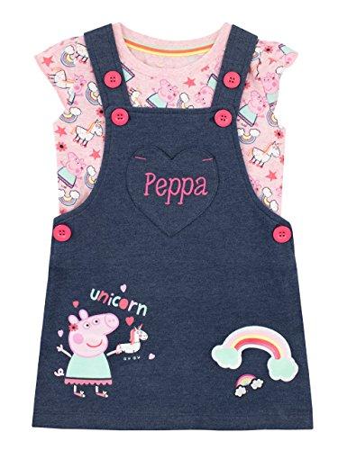 Peppa Pig Girls' Unicorn Pinafore Dress & T-Shirt Size 2T Multicolored