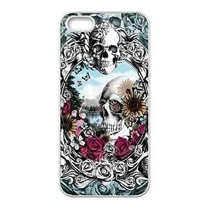 Diy Beautiful Sugar Skull Custom Cover Phone Case for iphone 5s White Shell Phone [Pattern-1] ka ka case