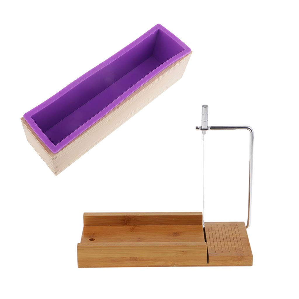 Fityle 2 Pieces/Set Soap Cutters Mold Cutting Tool with Wire Slicer + 900ml Silicone Soap Loaf Mould with Wood Box