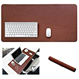 Yikda Extended leather Gaming Mouse Pad/Mat, Large Office Writing Desk Computer leather Mat Mousepad,Waterproof,Ultra Thin 1.2mm - 31.5''x15.7'' (Dark brown)