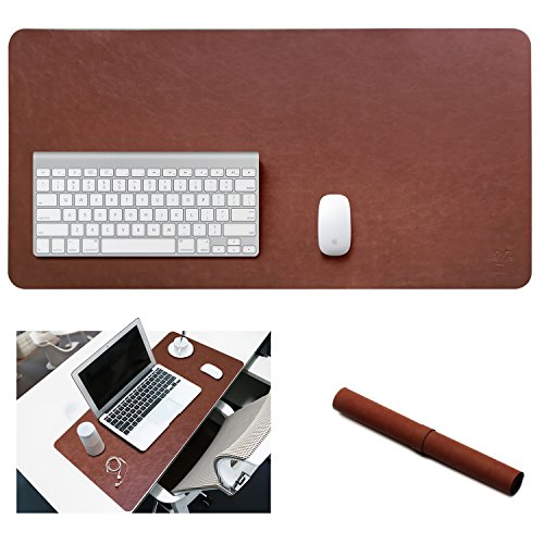 Yikda Extended Leather Gaming Mouse Pad/Mat, Large Office Writing Desk Computer Leather Mat Mousepad,Waterproof,Ultra Thin 1.2mm - 31.5x15.7 (Dark Brown)