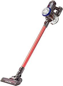 Monoprice Cordless Stick Vacuum Cleaner, Black/Red