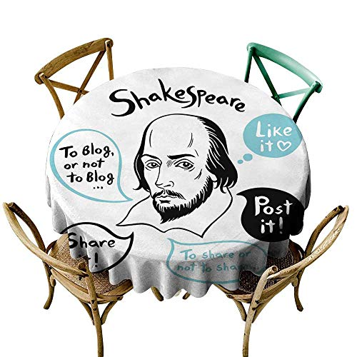 round tablecloth 36 inch Funny,Shakespeare Portrait with Speech Bubbles and Social Media Citation Illustration,Blue Black White Dust-Proof Table Cover for Kitchen Dinning Tabletop Decoration ()
