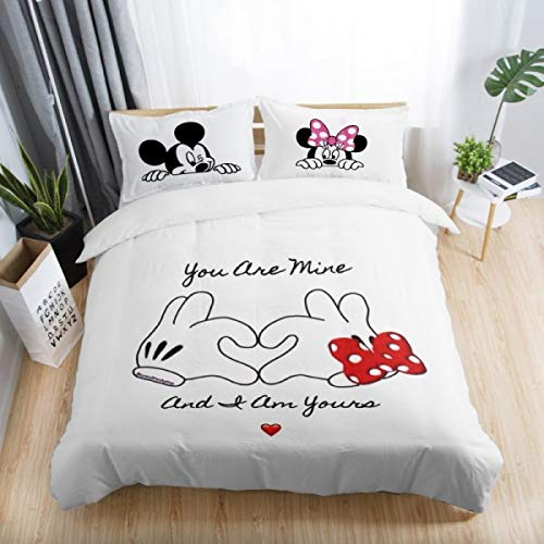 Bedding Sets|Black and White Mickey Minnie Mouse 3D Printed Bedding Sets Adult Twin Full Queen King Size Bedroom Decoration Cover Set|by ATUSY|