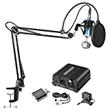 Neewer Condenser Microphone and Accessory Kit: NW-1500 Condenser Microphone (Blue), NW-35 Suspension Boom Scissor Arm Stand,48V Phantom Power Supply, NW(B-3) Pop Filter and USB 2.0 Sound Adapter