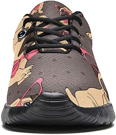 imobaby Chaussures de course pour femme bouledogue avec nœud rose en maille respirante pour marche, randonnée, tennis