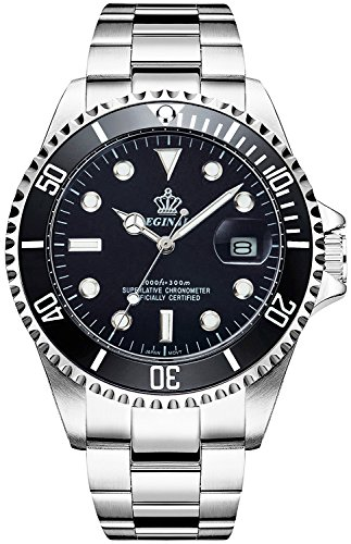 REGINALD Men Luminous Watch Ceramic Bezel Black Dial Waterproof Stainless Steel Case Band Quartz Watches (Black) Black Dial Ceramic Bezel