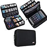 cable storage - BUBM Double Layer Electronic Accessories Organizer, Travel Gadget Carry Bag, Perfect Size Fit for iPad Mini (Medium, Black)