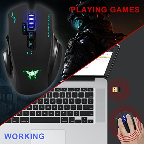 Wireless Mouse-Combatwing Gaming Mouse with Professional Ergonomic and Built-in Battery,Rechargeable Optical Gaming Mice with USB Nano Receiver for PC Laptop Computer Mac(above 10.4),4 Adjustable DPI by Combatwing (Image #6)