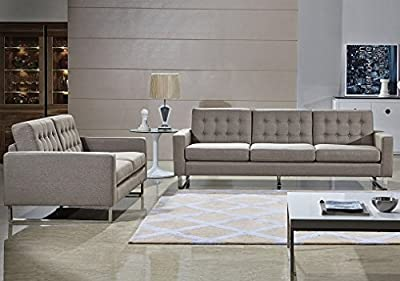 Angela Grey Fabric Modern Sofa and Loveseat Set