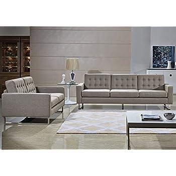 Amazon Com Angela Grey Fabric Modern Sofa And Loveseat