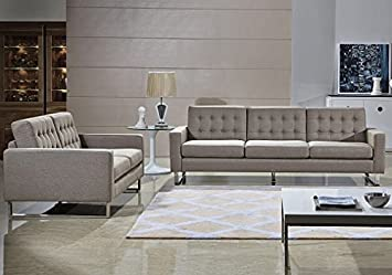Amazing Angela Grey Fabric Modern Sofa And Loveseat Set (Gray)