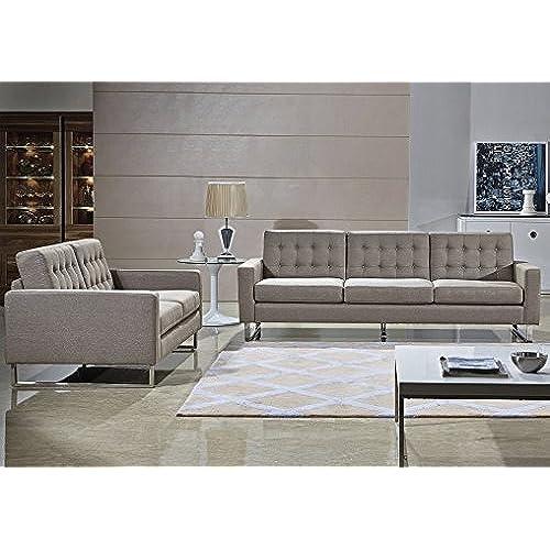 Angela Grey Fabric Modern Sofa And Loveseat Set (Gray)