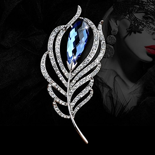 Fashion Crystal Feather Brooch Pin Scarves Buckle Shawl Clasp Luxury Flower Brooch Accessories for Women Girl Xmas Gift (Blue Crystal)