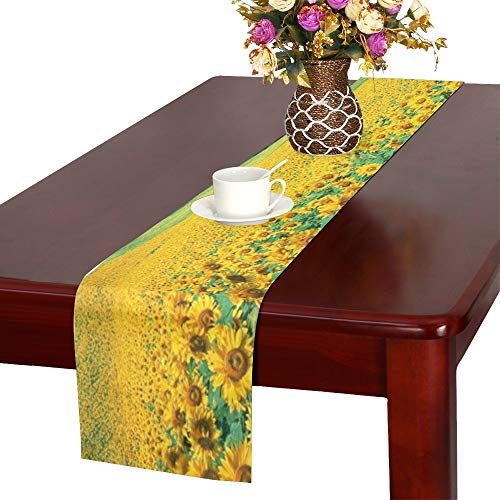 MOVTBA Sunflower Field Pictures Background Wallpaper Hd S Table Runner, Kitchen Dining Table Runner 16 X 72 Inch for Dinner Parties, Events, Decor (Kohls Table Dining)