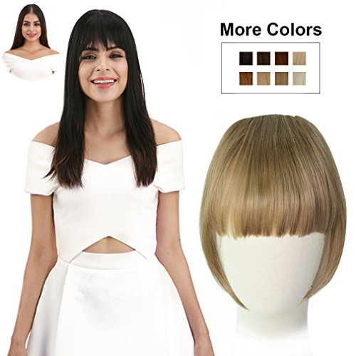 REECHO Fashion Full Length Synthetic 1 Piece Layered Clip in Hair Bangs Fringe Hairpieces Hair Extensions Color - 27/613 Blonde]()