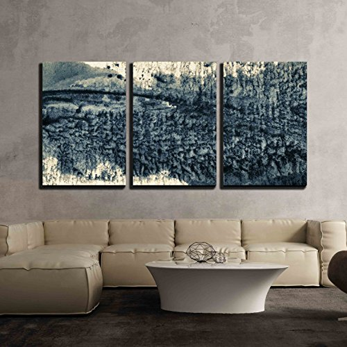 Grunge Art (wall26 - 3 Piece Canvas Wall Art - Abstract Painted Grunge Background, Ink Texture - Modern Home Decor Stretched and Framed Ready to Hang - 24
