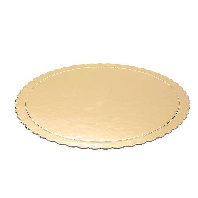 Bandejas para tartas - Vajilla de cartón Scalloped Cake círculo Base, 10 cm de diámetro, oro: Amazon.es: Hogar