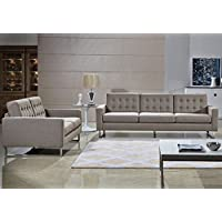 Angela Grey Fabric Modern Sofa and Loveseat Set (Gray)
