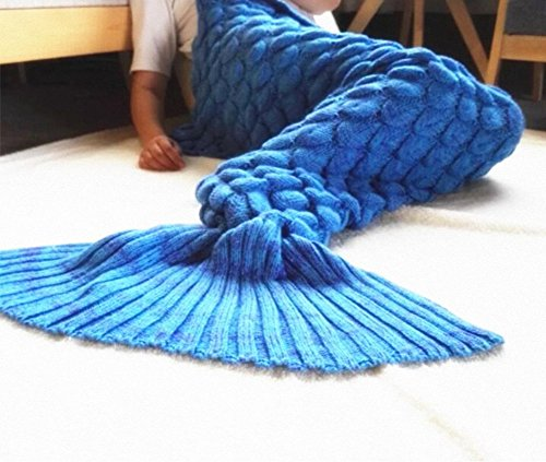 LAGHCAT Big Mermaid Tail Blanket and Mermaid tail Blanket crochet thick Adult/children, Sleeping Bags. (71x35.5, scale blue)