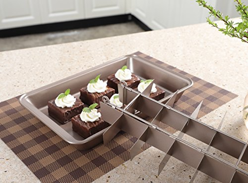 Non Stick Brownie Pans with Dividers, Diveded Brownie Pan All Edges, 8 inch by 12 inch by SUJUDE (Image #1)
