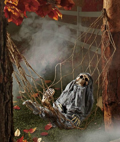 [1 X Interactive Skeleton in Hammock spooky Halloween decoration sound-activated] (Halloween Animatronics)