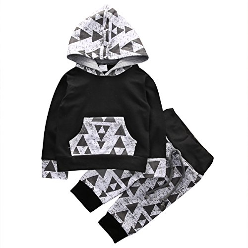 Set Baby Pattern (Baby Boys Arrow Geometric Pattern Long Sleeve Hoodie T-Shirt Top and Long Pants Outfit Set (80 (6-9M), Black and Gray))