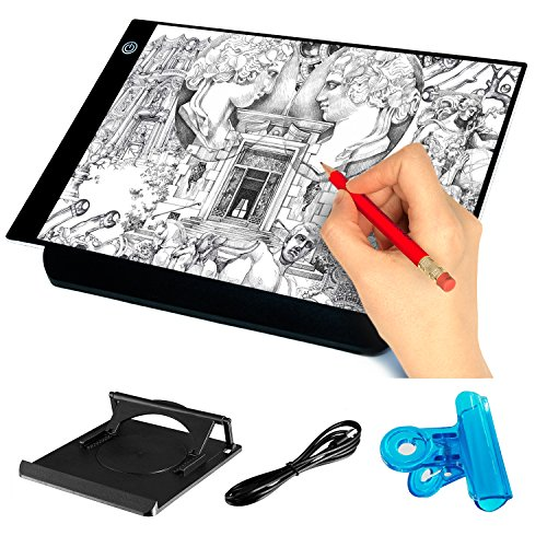 Mucjun A4 Ultra-Thin Light Box Drawing Pad with Stander, USB Power Adjustable Brightness LED Art Tattoo Tracing Light Pad Tracing Paper for Artists Drawing Sketching Animation Designing Stencilling by Mucjun