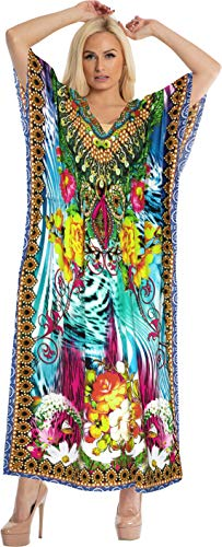 LA LEELA 3D Printed Kaftan Beach Cover up Lounge Caftan Multicolor_A788 14-22W - Kimono Silk Tunic