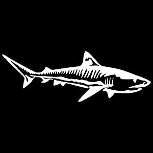 Express Yourself Products Tiger Shark Wall Decal (White -Facing as Shown- Small) - Saltwater Fish Collection