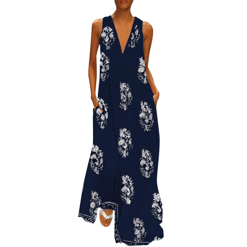 Dresses for Women YQZB Casual Floral Short Sleeve O-Neck Maxi Tank Long Dress Dark Blue by yiqianzhaobiao_Dress