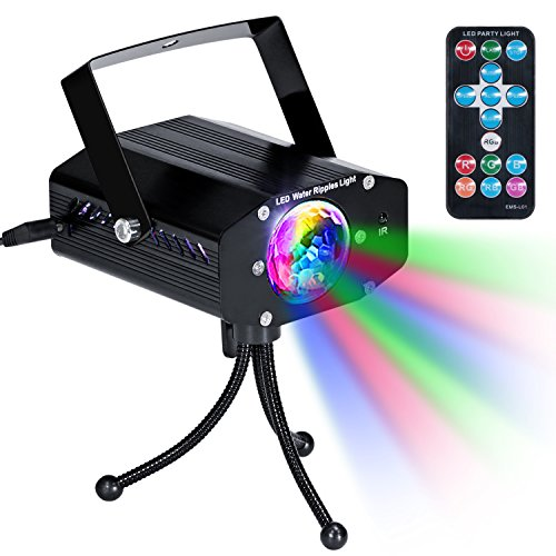 KINGTOP Disco Party Lights DJ Stage Led Strobe Lights with Remote Control Sound Activated Color Rotating for Home Birthday Karaoke DJ Parties Night Lighting (Black)