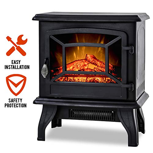 FDW Electric Fireplace Heater 20' Freestanding Fireplace Stove Portable Space Heater with Thermostat for Home Office Realistic Log Flame Effect 1500W CSA Approved Safety 20'Wx17'Hx10'D,Black