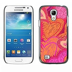 Plástico carcasa Funda || Samsung Galaxy S4Mini i9190MINI VERSION. || Drawn Sun Flames Love Pink @ XPTECH