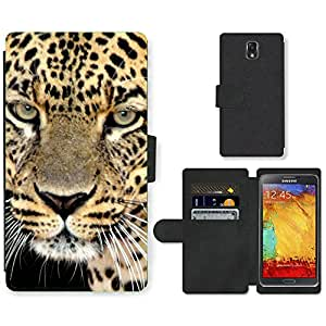 Hot Style Cell Phone Card Slot PU Leather Wallet Case // M99999163 Leopardo // Samsung Galaxy Note 3 III N9000 N9002 N9005