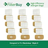 12 - Electrolux Style C Bags. Designed by FilterBuy to fit Electrolux Canister Vacuum Cleaners