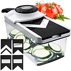 Adjustable Mandoline Slicer Vegetable Slicer - Godmorn 5 V Blades - V Slicer Veggie Slicer Mandoline Food Slicer - Mandoline Cutter Vegetable Cutter - Grater & Julienne Slicer