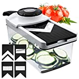 Mandoline Slicer Adjustable Godmorn Vegetables Cutter Fruits Shredder , Handhold 5+1 Premium V-Blade Multi-function Food Julienne with Container and Safety Hand Guard for Carrot Cucumber Potato Cheese Grater