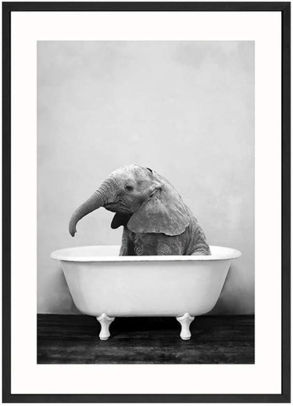 LiMengQi Pintura de Lienzo Pintura de Pared de jardín de Infantes Imagen nórdica decoración de niño pequeño Cartel de Animal en la bañera Panda Jirafa Elefante león Cerdo Vaca (sin Marco): Amazon.es:
