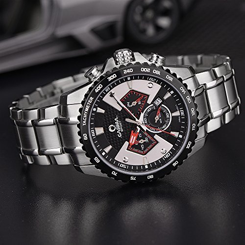 Casima men 39 s sport quartz wrist watches stainless steel band waterproof 8103 s7 chronograph for Casima watches