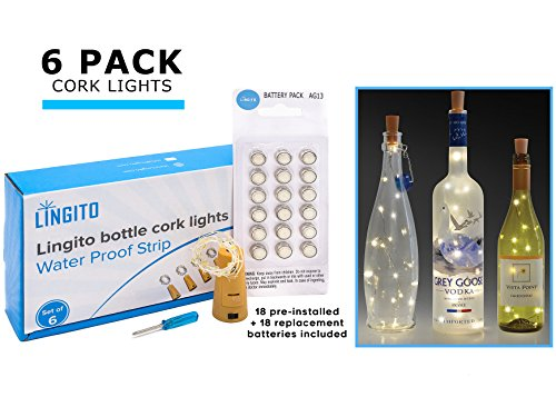 6 White Wine Bottle Cork Lights With 18 Pre-Installed + 18 Replacement Batteries included, Copper Wire Lights, String Led Lights for Bottles DIY, Mood Lights