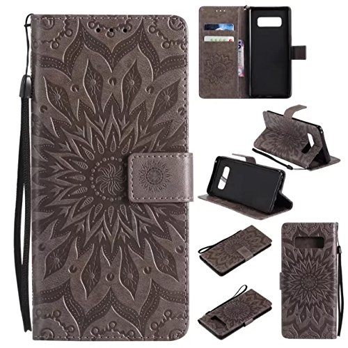 Price comparison product image Galaxy Note 8 Case, Note 8 Wallet Case, Samsung Note 8 Flip Case PU Leather Emboss Mandala SUN Flower Folio Magnetic Kickstand Cover with Card Slots for Samsung Galaxy Note 8 2017 Gray