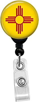 Custom New Mexico Flag Badge Reel Retractable ID Name Card State Badge Holder