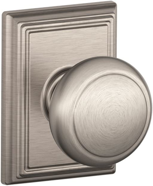 Schlage F10AND619ADD Addison Collection Andover Passage Knob, Satin Nickel